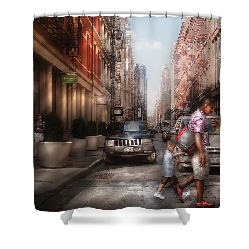 Savad Shower Curtain featuring the photograph City - Ny - Walking Down Mercer Street by Mike Savad