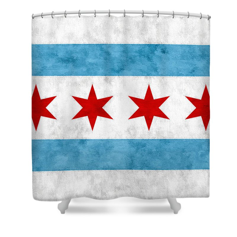 Chicago Shower Curtain Featuring The Mixed Media City Of Flag By Christopher Arndt
