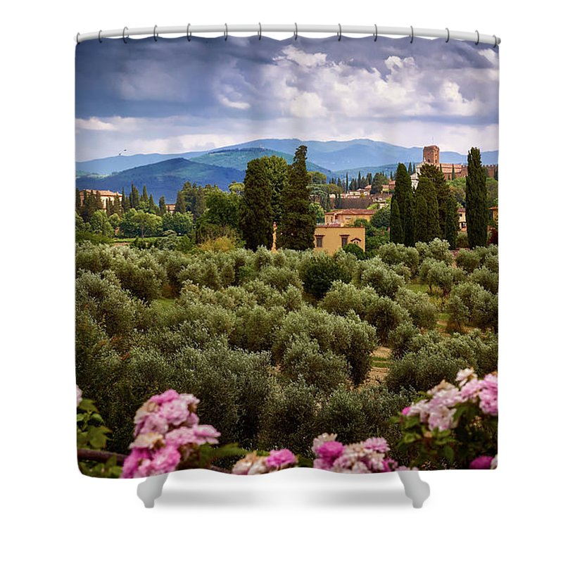 Beautiful shower curtain with picture of a Tuscan landscape in Florence