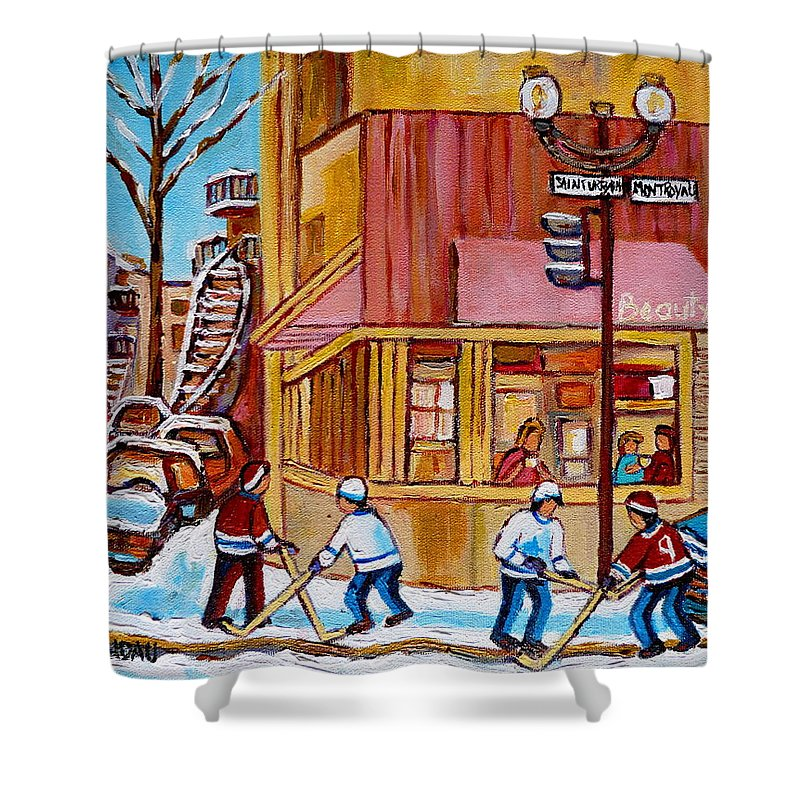 Montreal Shower Curtain featuring the painting City Of Montreal St. Urbain And Mont Royal Beautys With Hockey by Carole Spandau