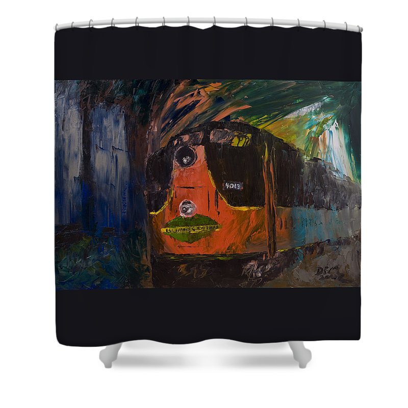 Train Shower Curtain featuring the painting City Of New Orleans by David McGhee