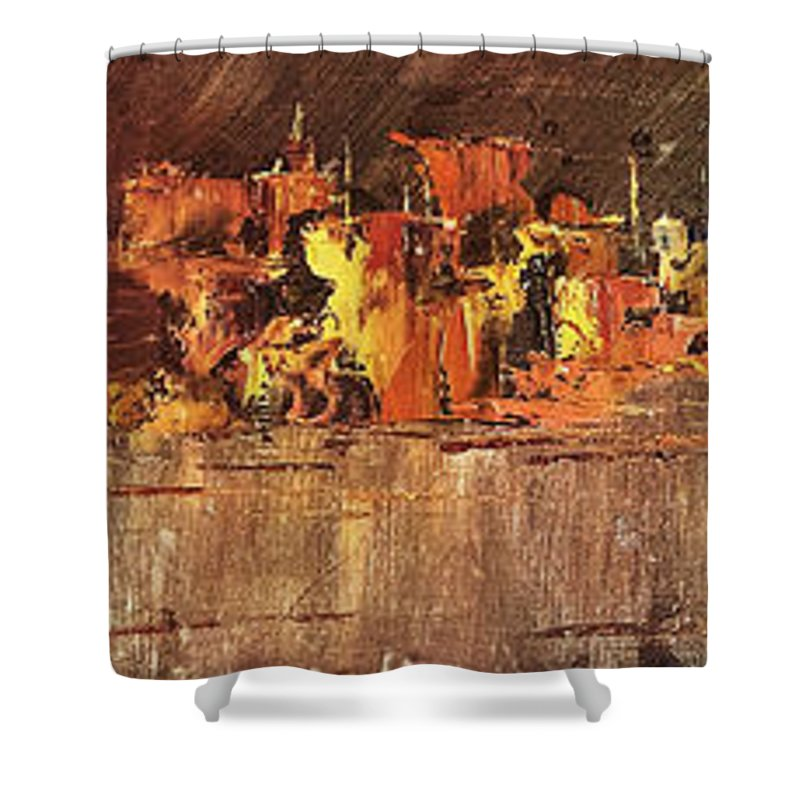 Oil Painting Shower Curtain featuring the painting City On Water by Austin Howlett