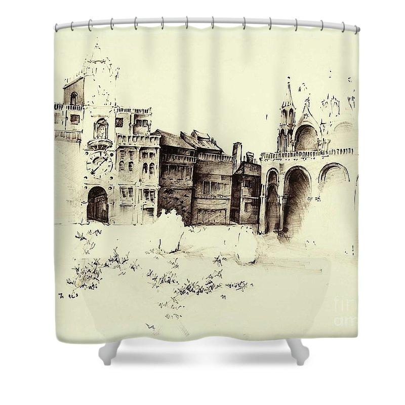 Shower Curtain featuring the drawing City Rendering by Ellen Palmer Legacy Art