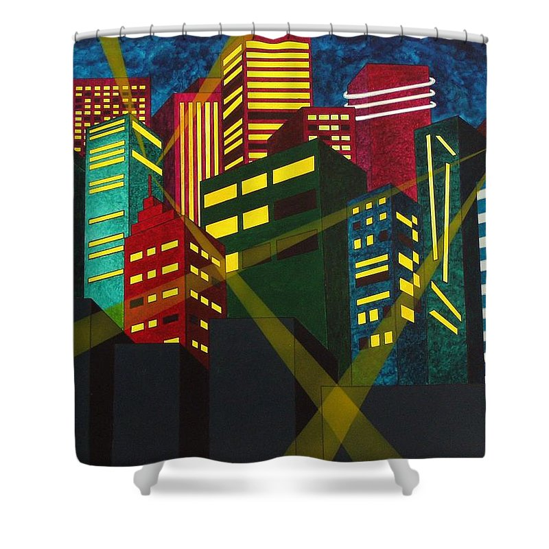 City Shower Curtain featuring the painting City Scion by Patti Bean