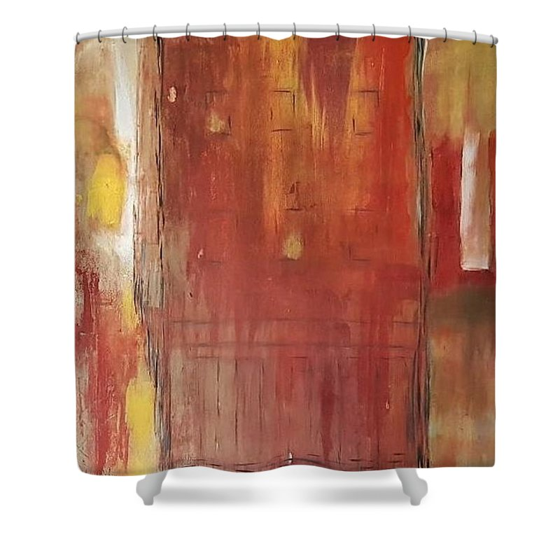 Abstract Shower Curtain featuring the painting City Secrets by Erin Domenko