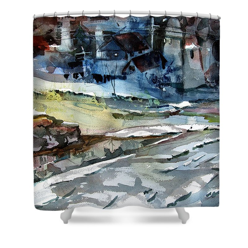 Winter Shower Curtain featuring the painting City Snow Melts by Mindy Newman