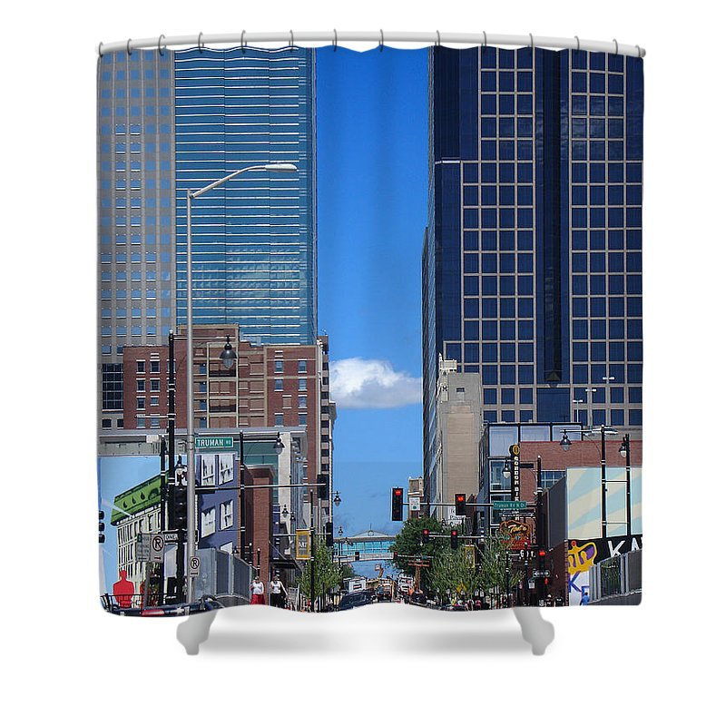 Kansas City Shower Curtain featuring the photograph City Street Canyon by Steve Karol