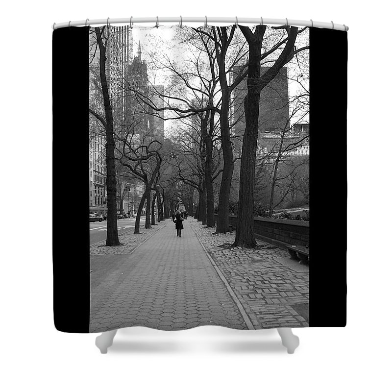 Black Shower Curtain featuring the photograph City Walk by J Todd