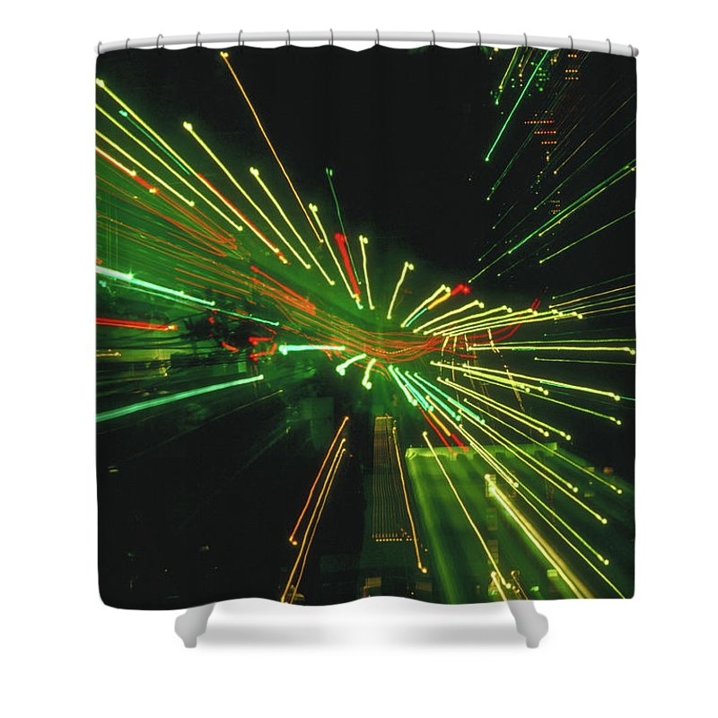 Night Shower Curtain featuring the photograph City Zoom by Jerry McElroy