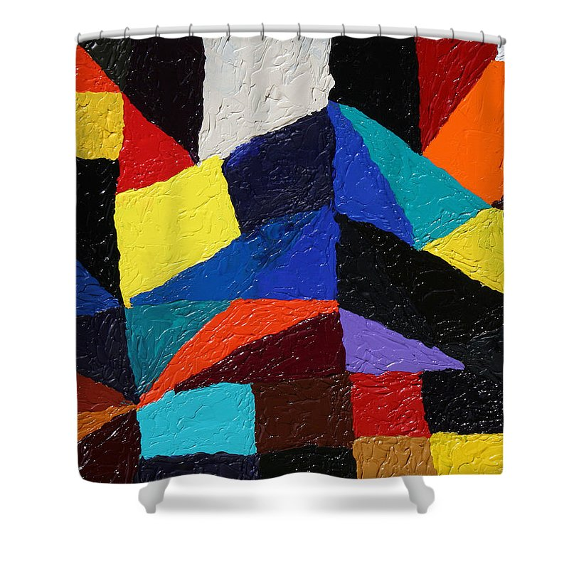 Fusionart Shower Curtain featuring the painting Cityscape by Ralph White