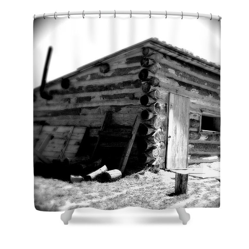 Army Shower Curtain featuring the photograph Civil War Cabin 1 Army Heritage Education Center by Jean Macaluso
