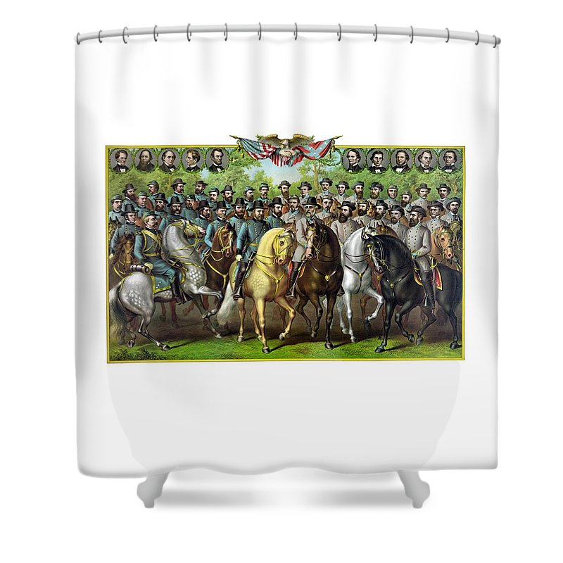 Civil War Shower Curtain featuring the painting Civil War Generals And Statesman by War Is Hell Store
