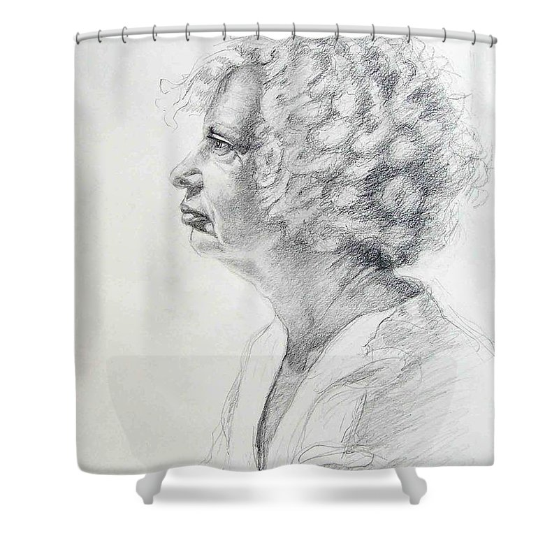 Portrait Shower Curtain featuring the drawing Claire by Laurie Paci