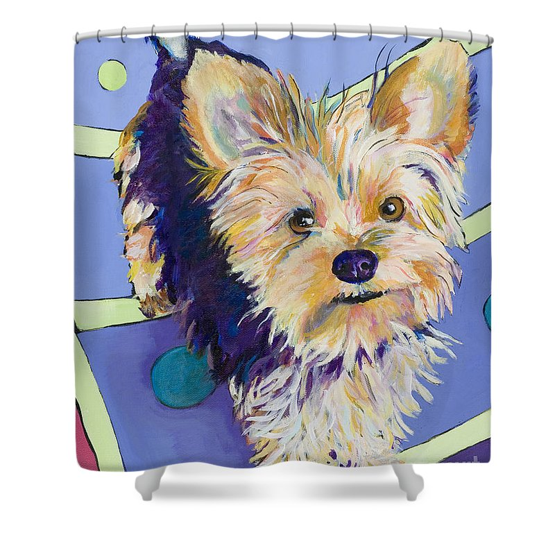 Pet Portraits Shower Curtain featuring the painting Claire by Pat Saunders-White