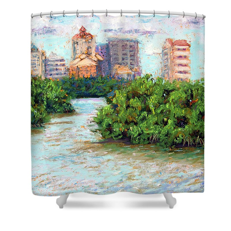 Clam Pass Shower Curtain featuring the painting Clam Pass I by Laurie Paci