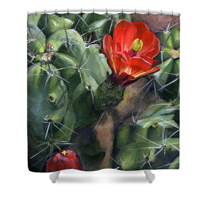 Cactus Shower Curtain featuring the painting Claret Up Cactus by Rebecca Zook
