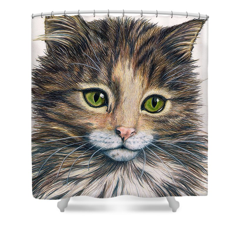 Cat Shower Curtain featuring the drawing Clarice by Kristen Wesch