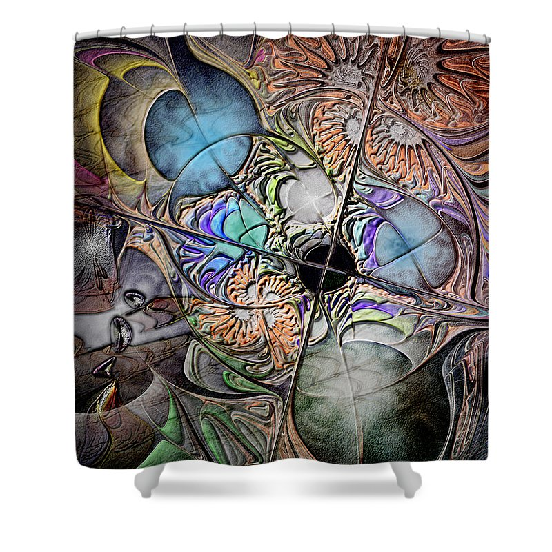 Abstract Shower Curtain featuring the digital art Clash Of The Earthly Elements by Casey Kotas