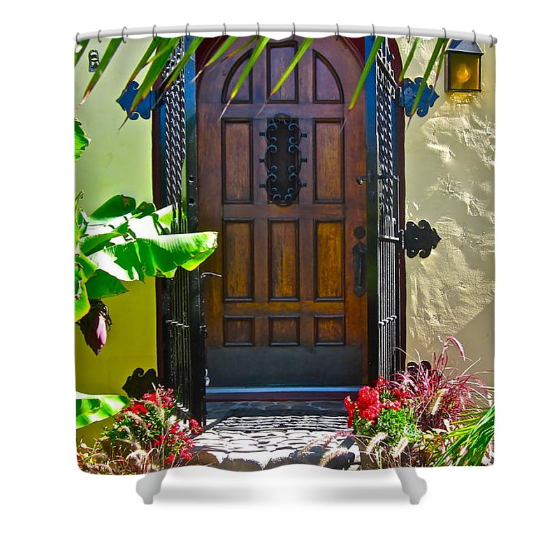 Photograph Of Door Shower Curtain featuring the photograph Classic Belmont Shore by Gwyn Newcombe