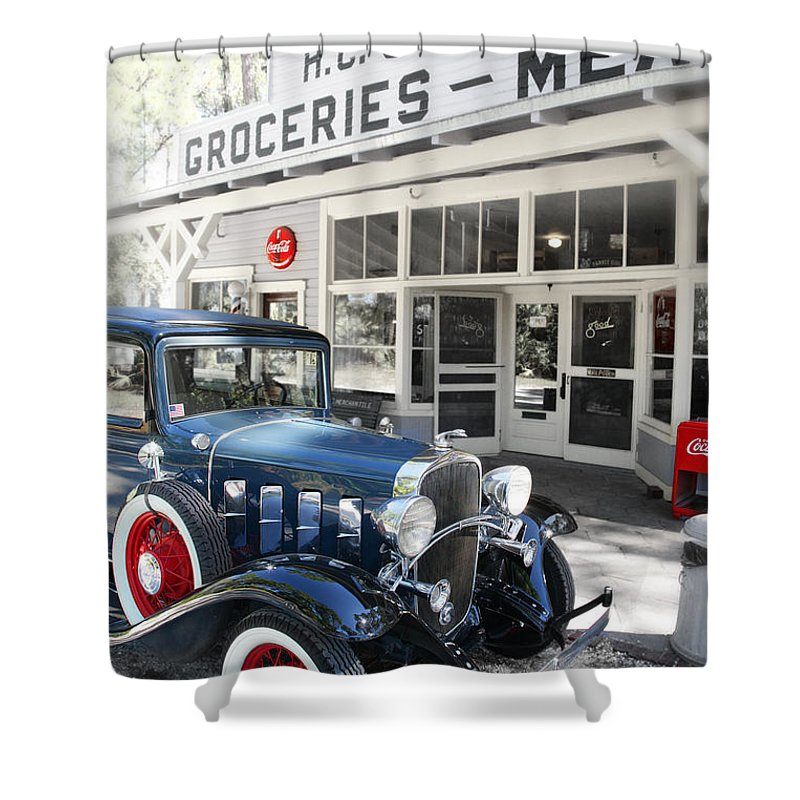 Chevy Shower Curtain featuring the photograph Classic Chevrolet Automobile Parked Outside The Store by Mal Bray