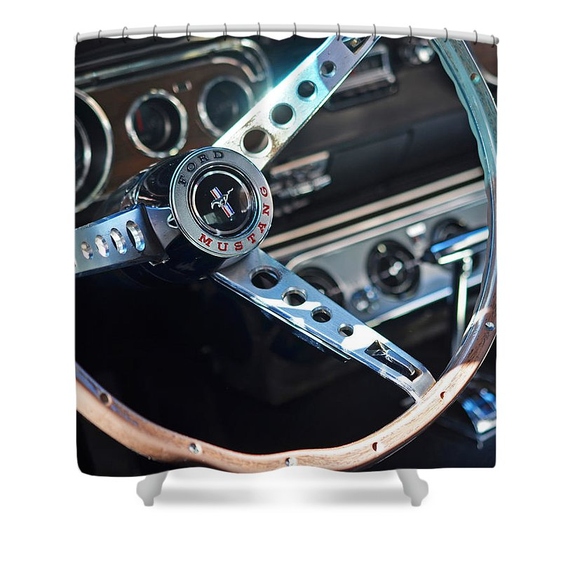 Ford Shower Curtain Featuring The Photograph Classic Mustang Steering Wheel By Toby McGuire