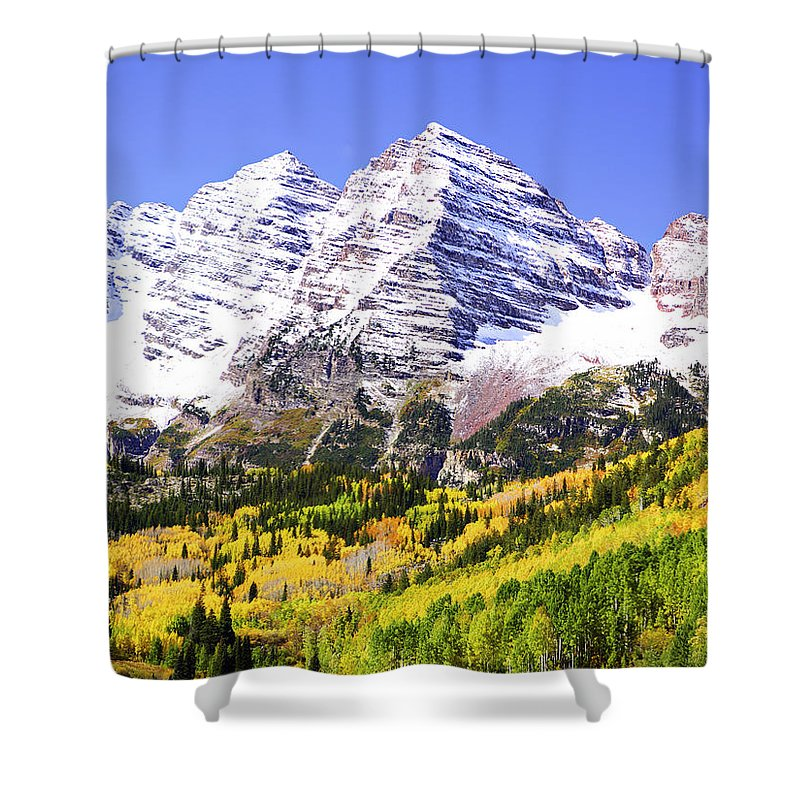 Americana Shower Curtain featuring the photograph Classic Maroon Bells by Marilyn Hunt