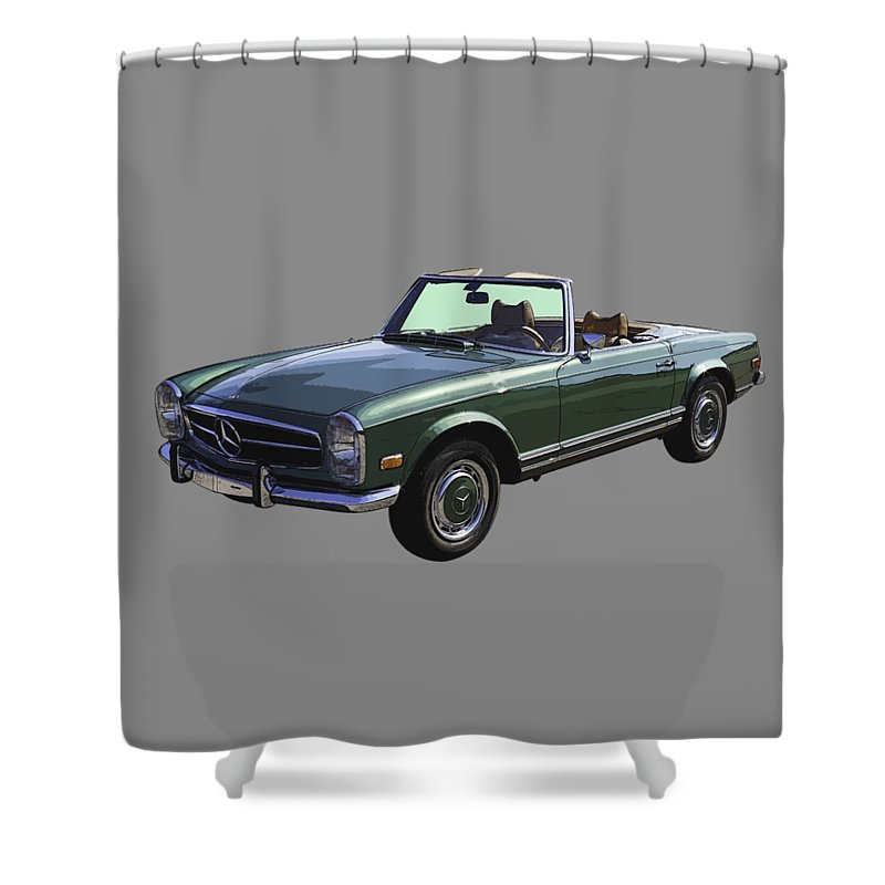Mercedes Benz Shower Curtain featuring the photograph Classic Mercedes Benz 280 Sl Convertible Automobile by Keith Webber Jr