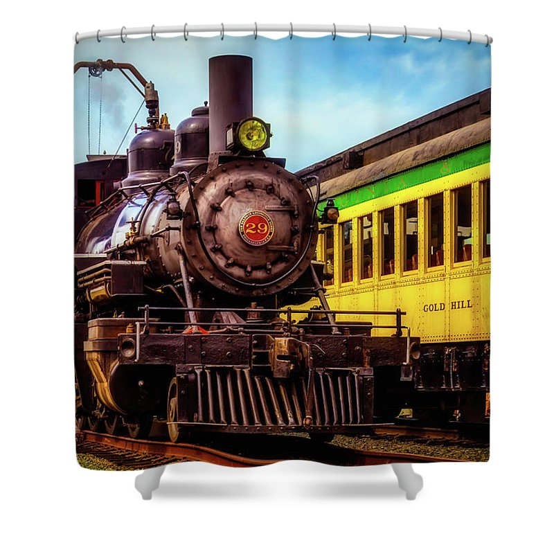 Virgina & Truckee Shower Curtain featuring the photograph Classic Steam Train No 29 by Garry Gay
