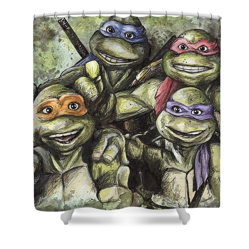 Tmnt Shower Curtain Featuring The Painting Classic By Nate Michaels