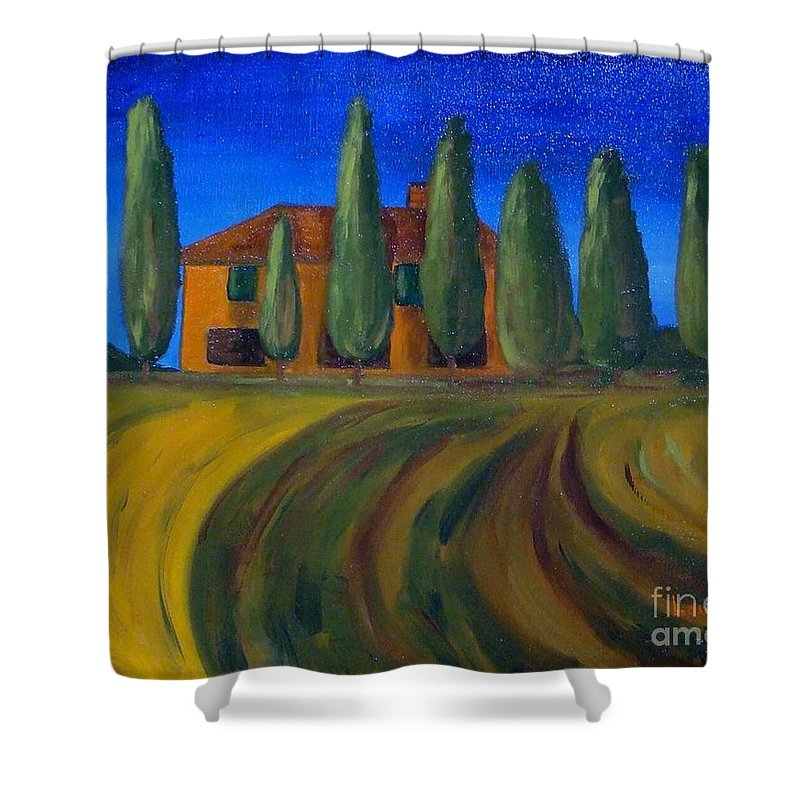 Tuscany Shower Curtain featuring the painting Classic Tuscan Sunset by Laurie Morgan