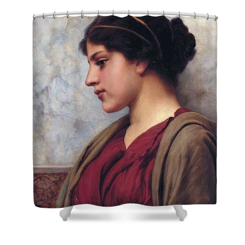 Person Shower Curtain featuring the digital art Classical Beauty John William Godward by Eloisa Mannion
