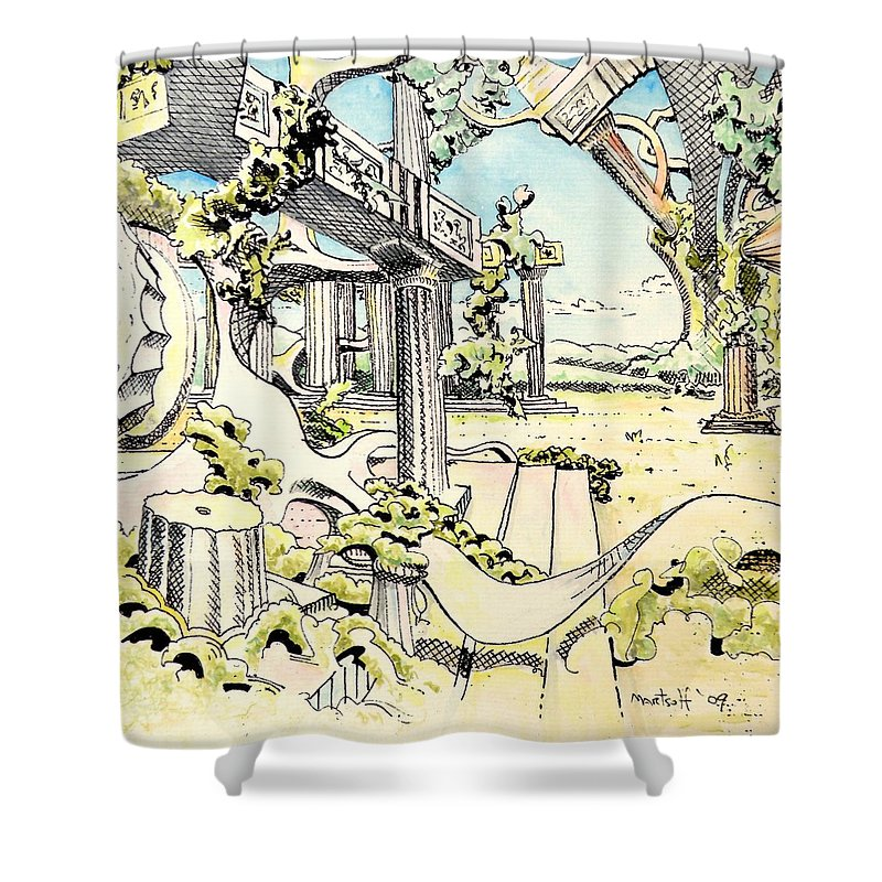 Greek Shower Curtain featuring the painting Classical Visitation by Dave Martsolf