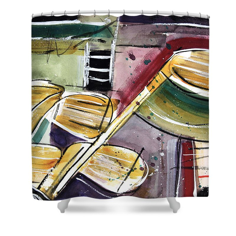 Golf Shower Curtain featuring the painting Clattering Clubs by Tim Ross