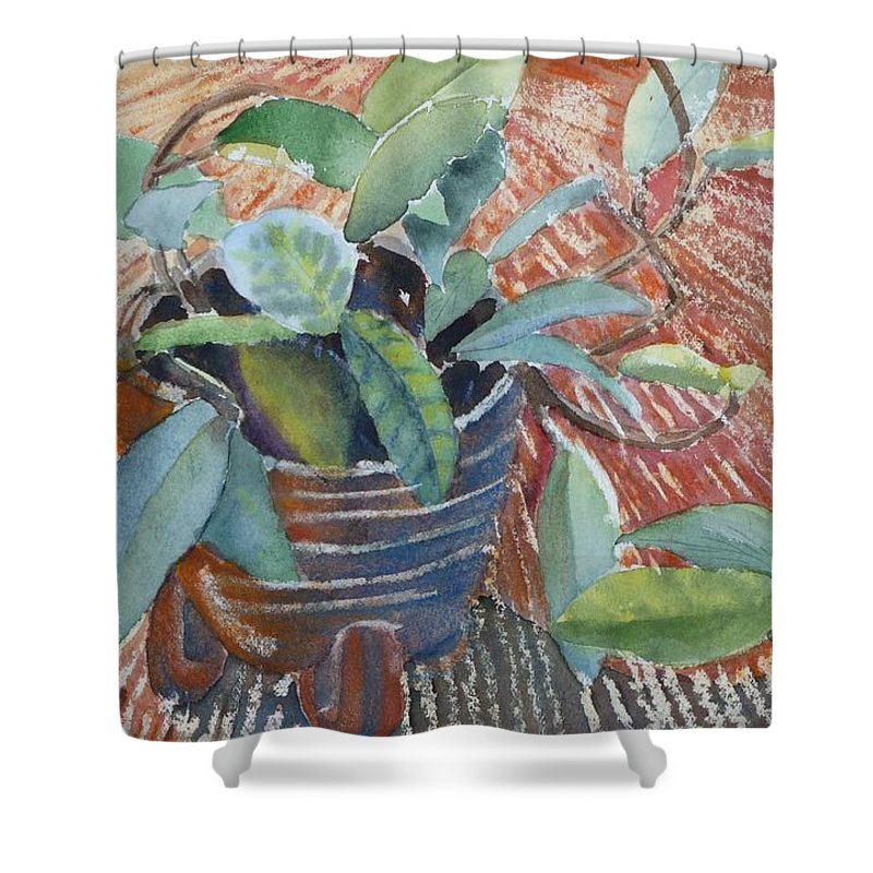 Vine Shower Curtain featuring the painting Clay Pot by Ruth Kamenev