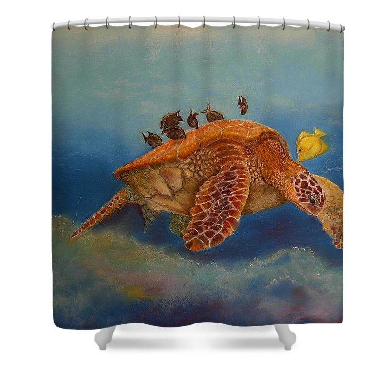 Turtle Shower Curtain featuring the painting Cleaning Station by Ceci Watson