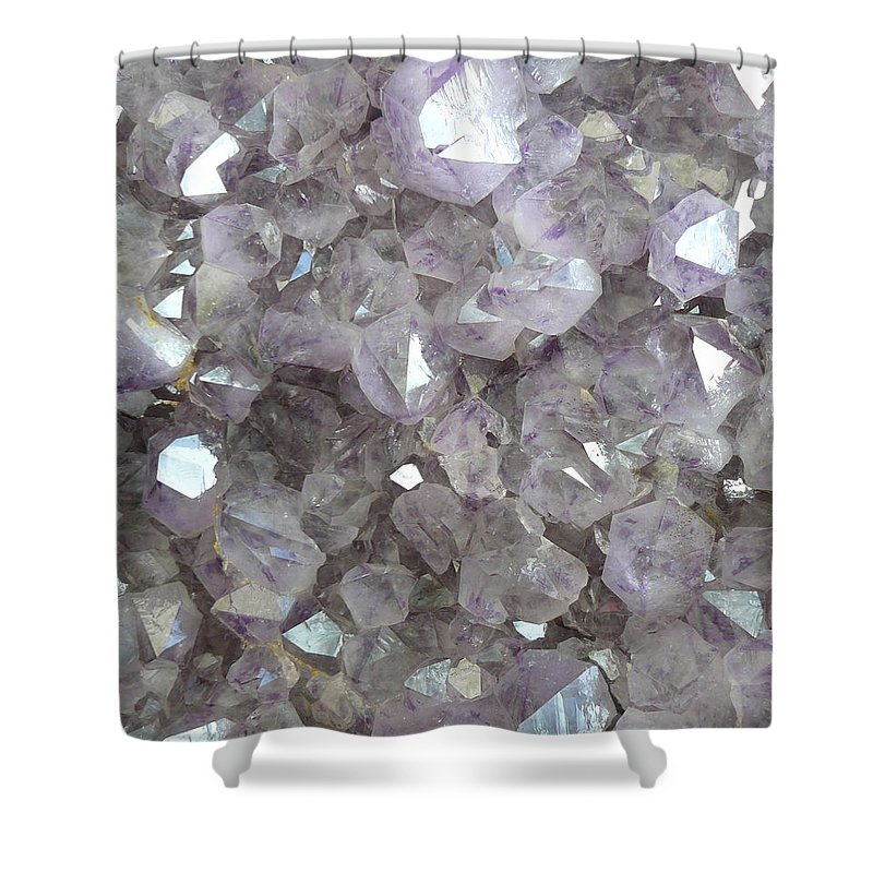 Sparkling Clear Light Purple Amethyst Crystal Stone Shower Curtain featuring the photograph Clear Crystal Amethyst by The Quarry