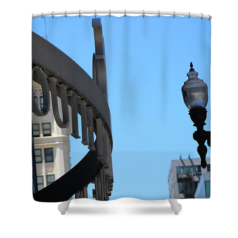 Clear Street Lamp Downtown Chicago Shower Curtain