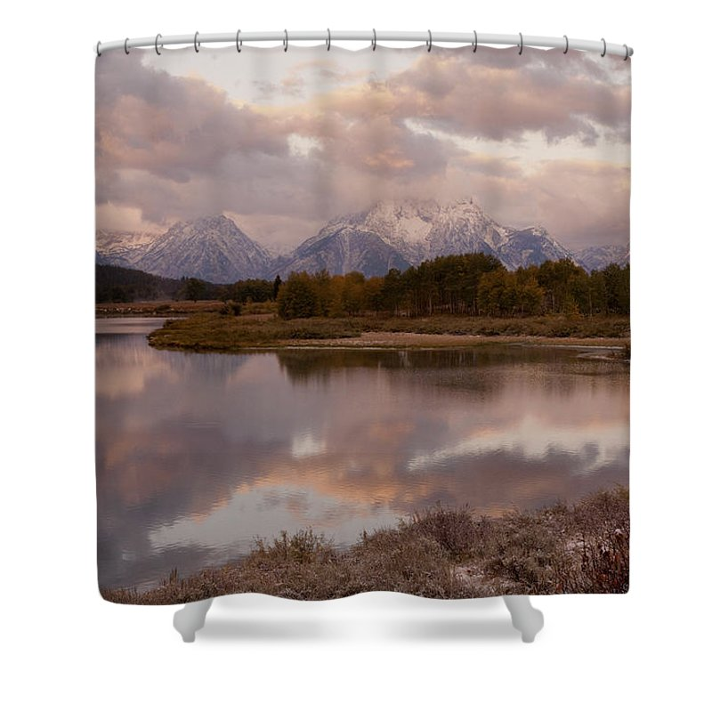 Grand Teton Shower Curtain featuring the photograph Clearing Storm At Oxbow Bend by Sandra Bronstein