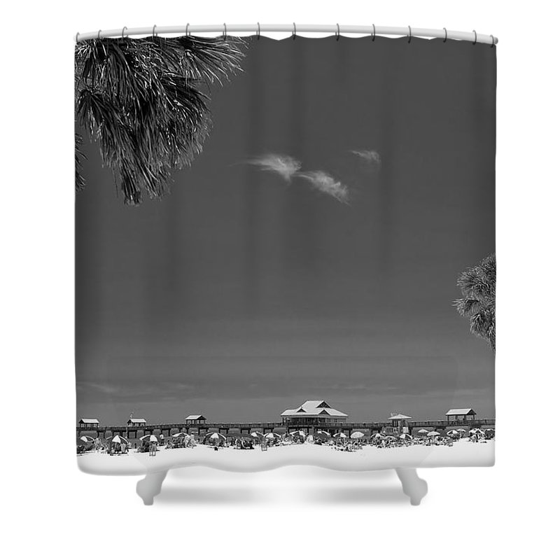 B&w Shower Curtain featuring the photograph Clearwater Beach Bw by Adam Romanowicz