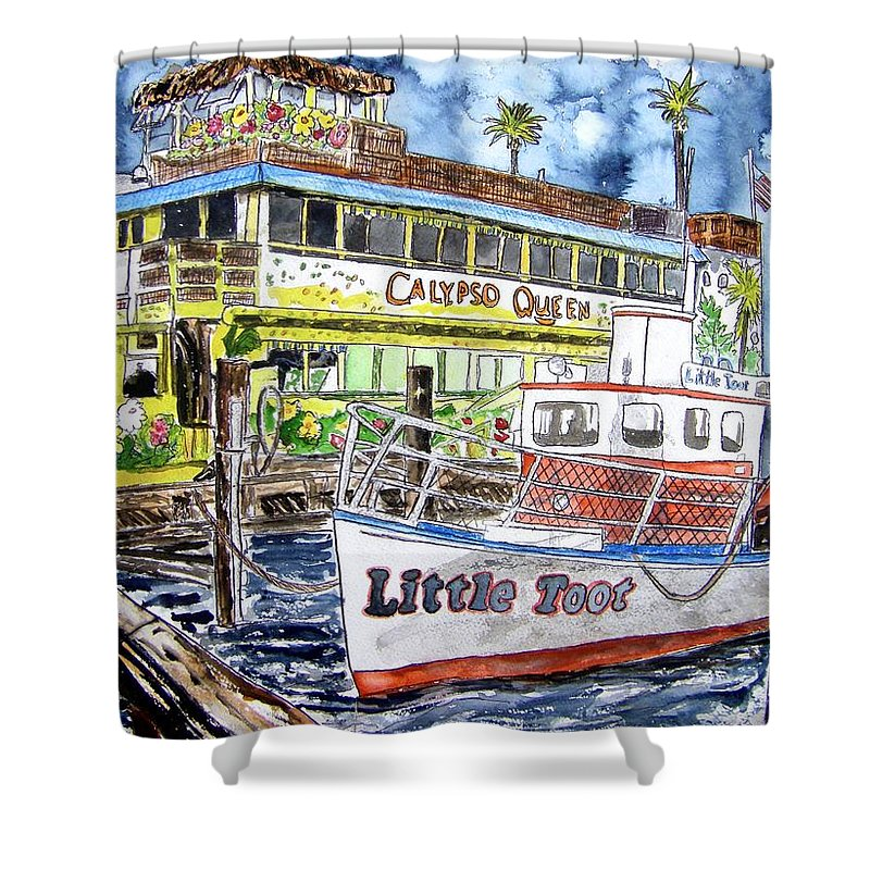 Seascape Shower Curtain featuring the painting Clearwater Florida Boat Painting by Derek Mccrea