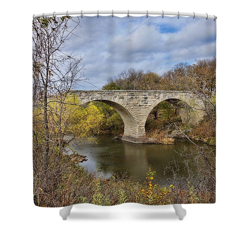 Stone Bridge Shower Curtain featuring the photograph Clement Stone Arch Bridge by Alan Hutchins