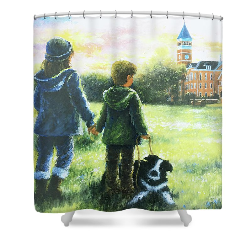 Clemson Kids Art Shower Curtain Featuring The Painting Clemson Kids Big  Sister Little Brother By Vickie