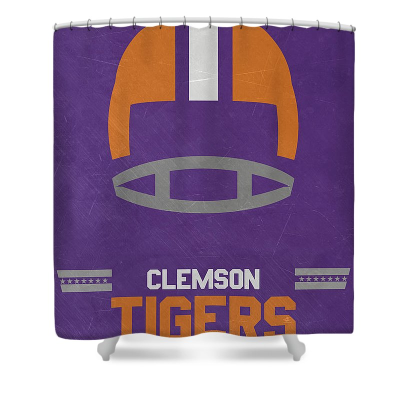 Tigers Shower Curtain featuring the mixed media Clemson Tigers Vintage Football Art by Joe Hamilton