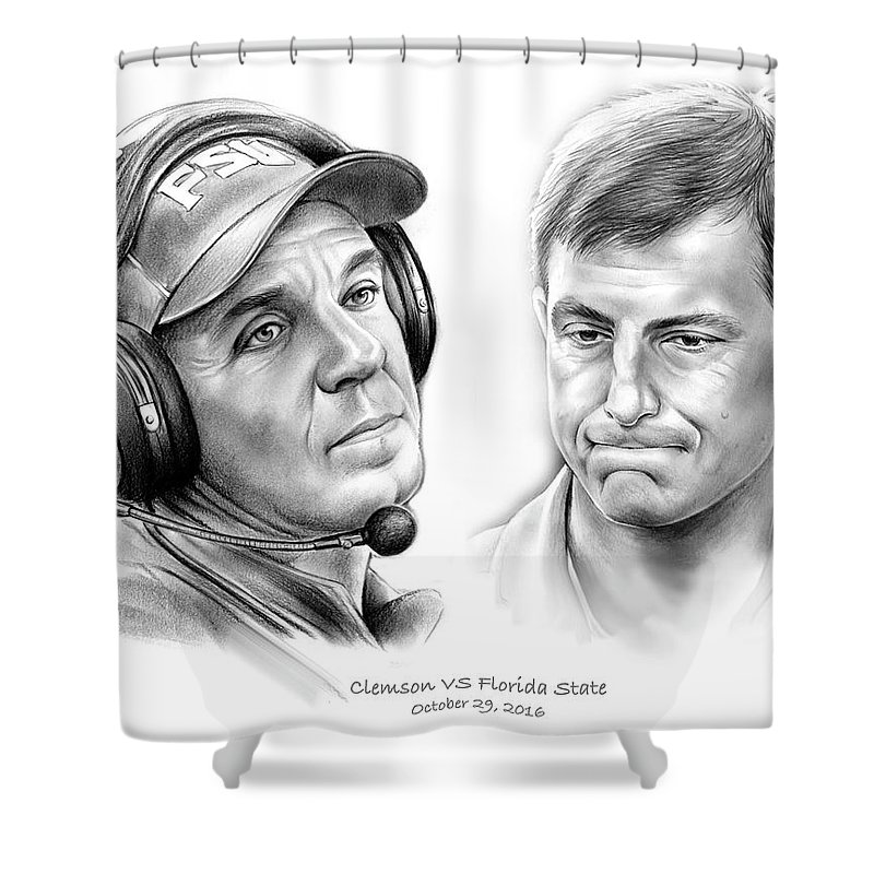 Florida State Shower Curtain Featuring The Drawing Clemson Vs By Greg Joens