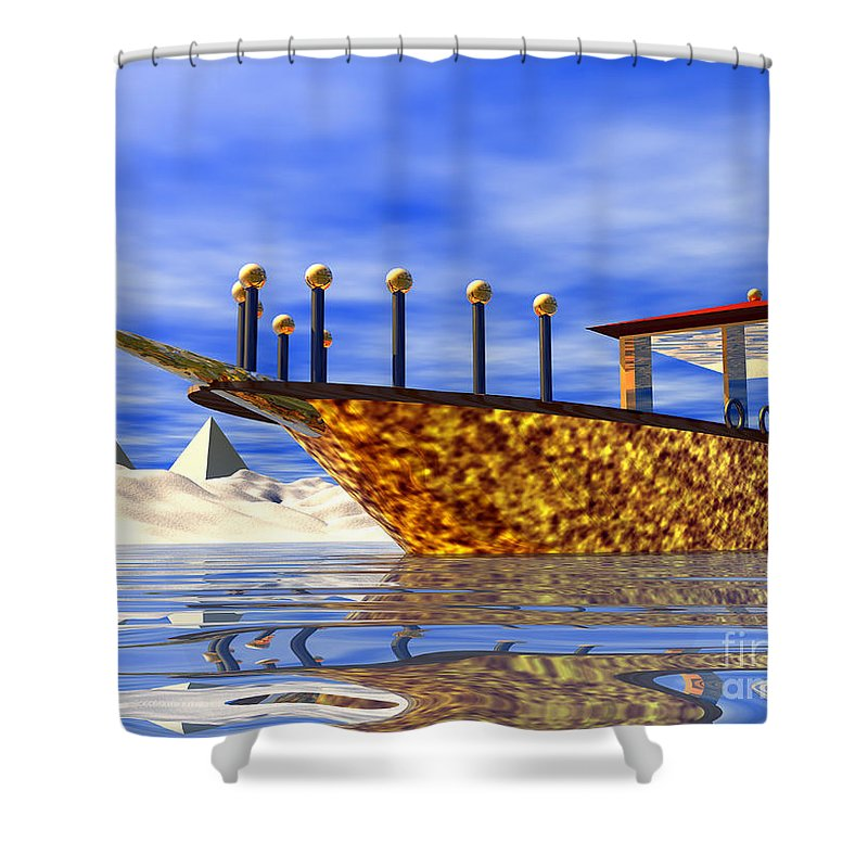 Cleopatra Shower Curtain featuring the digital art Cleopatra's Barge by Nicholas Burningham