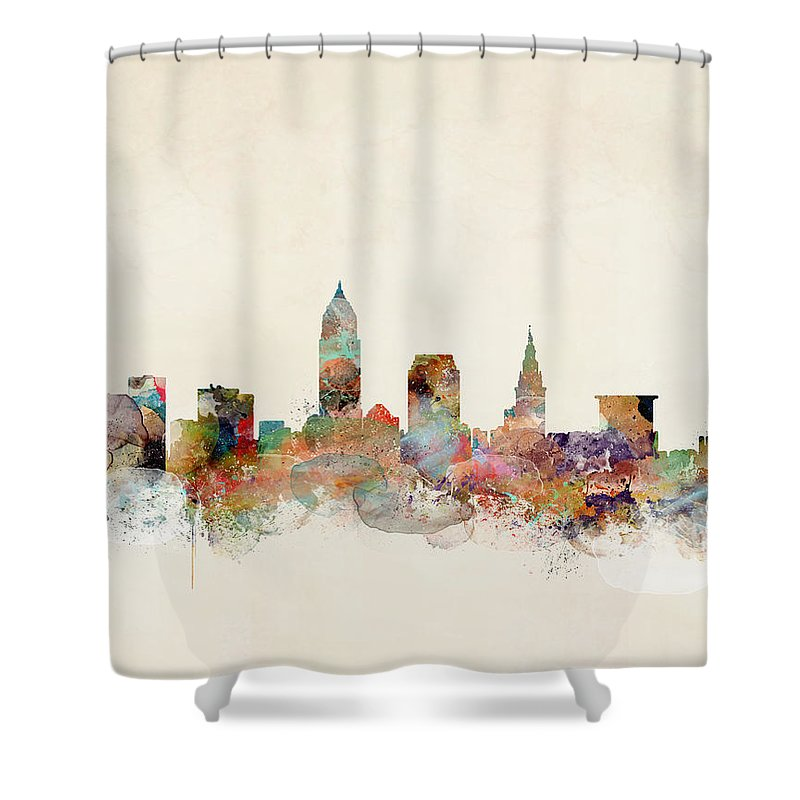 Cleveland City Skyline Shower Curtain featuring the painting Cleveland Ohio Skyline by Bri Buckley