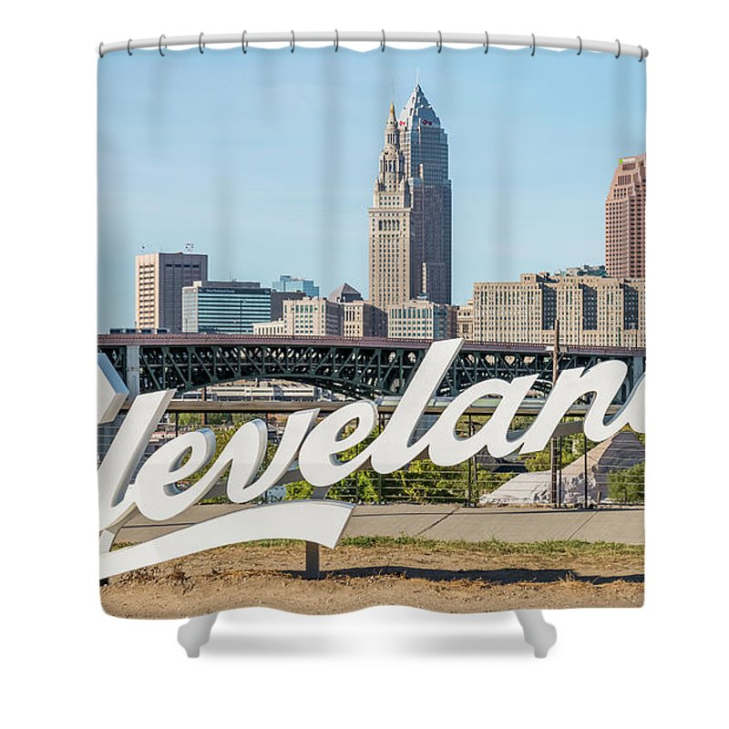 City View Cityscape Cleprojectskyline Shower Curtain Featuring The Photograph Cleveland Script Sign Tremont By Frank