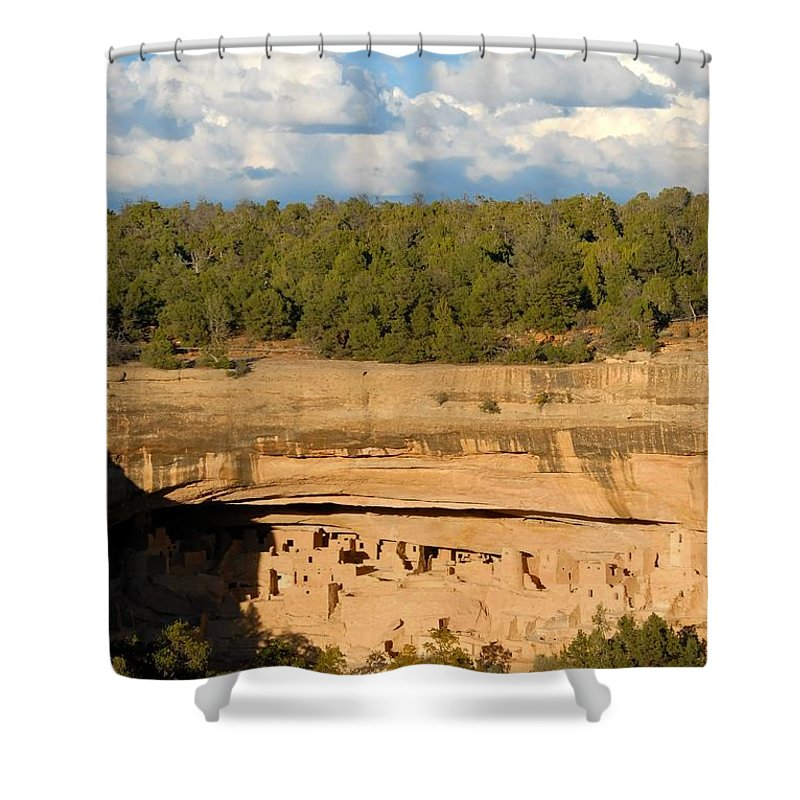 Cliff Palace Shower Curtain featuring the photograph Cliff Palace Landscape by David Lee Thompson