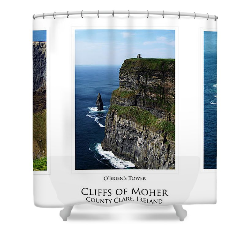 Irish Shower Curtain featuring the photograph Cliffs Of Moher Ireland Triptych by Teresa Mucha
