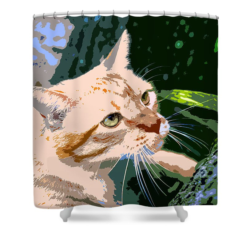 Feline Shower Curtain featuring the painting Climbing Cat by David Lee Thompson